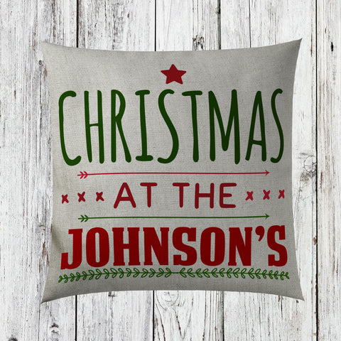 Personalised Family Name Christmas Cushion Cover Home Decor Decorations ST44