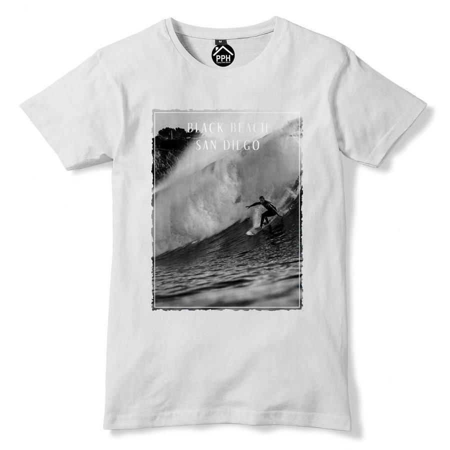 Black Beach San Diego Tshirt Surf Board Mens Top Famous Surfing T Shirt 112