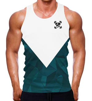 TEAL AESTHETIC MUSCLE FITTED TANK VEST MEN BODYBUILDING CLOTHING GYM WEAR