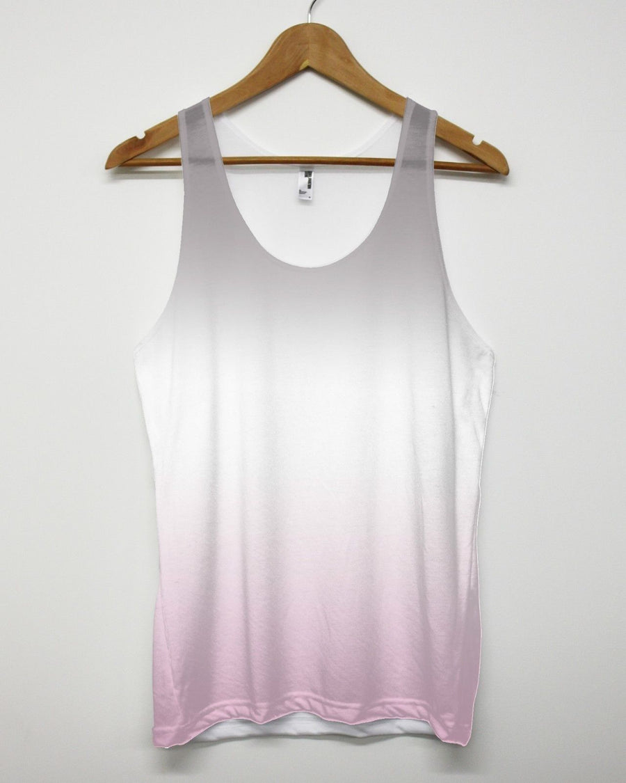 Grey Pink All Over Vest Tank Top Summer Holiday Men Women Indie Tie Dye Ombre