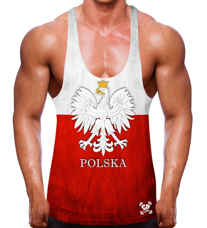 Polska Poland Flag Stringer Vest Gym Clothing Bodybuilding Men Training Top UK