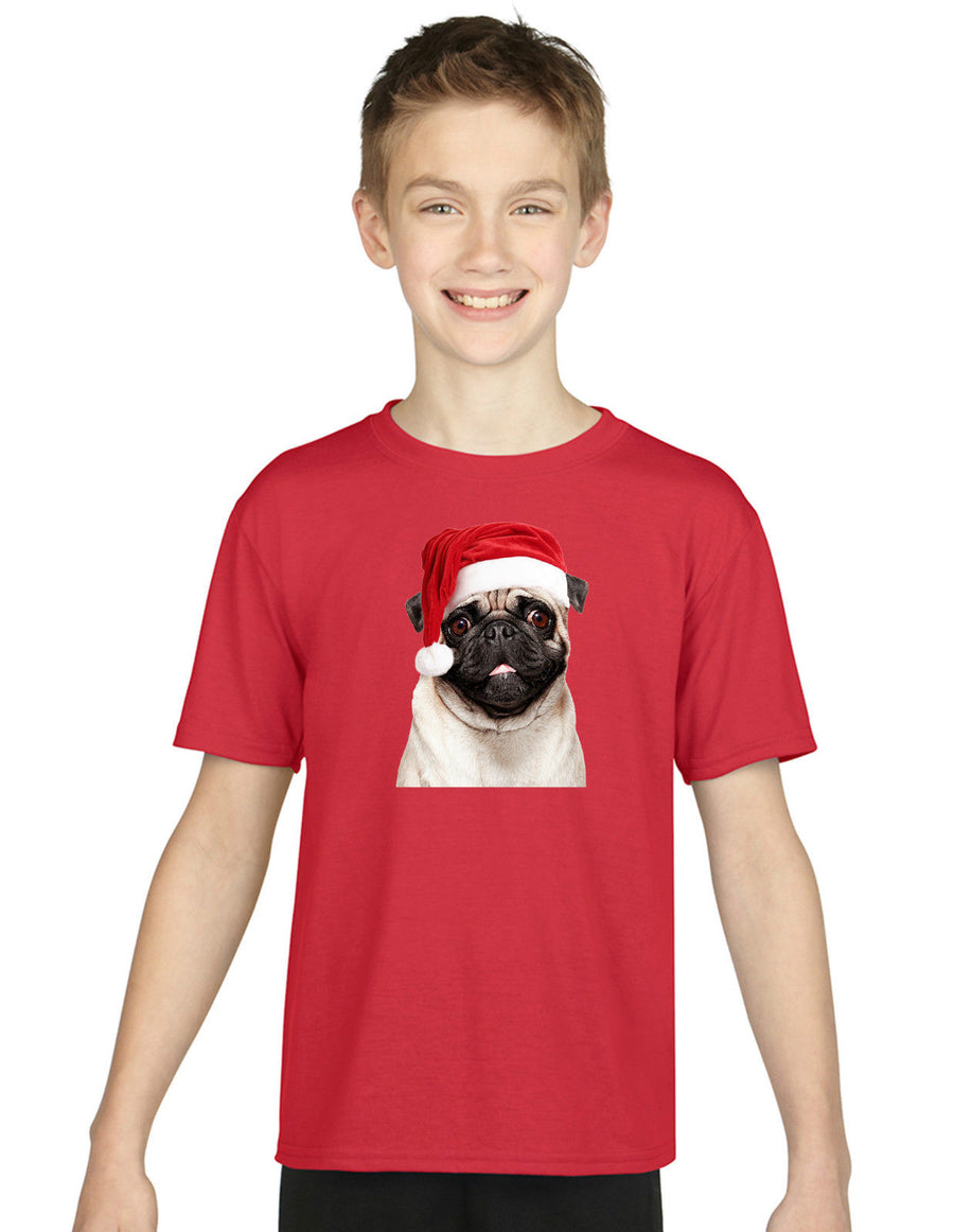 Children's Pug Christmas Santa Hat T Shirt Top Girls Boys Kids Cute Dog X-Mas