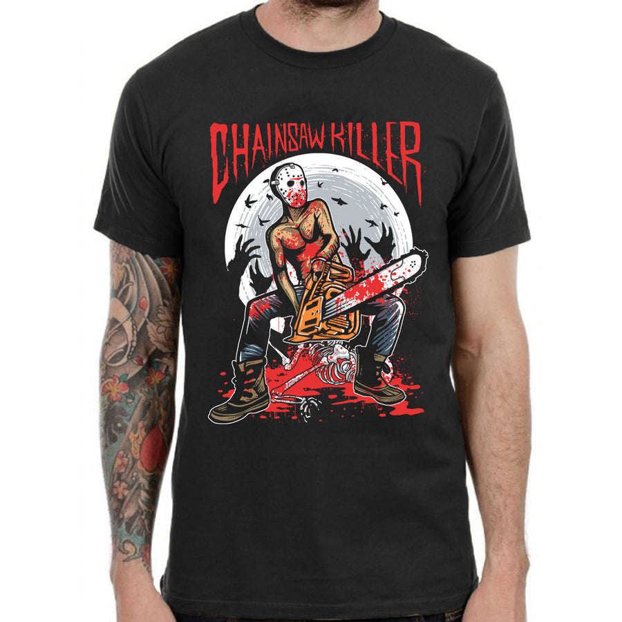Chainsaw Killer T Shirt Horror Punk Emo Metalhead Grunge Anarchist Goth New Wave