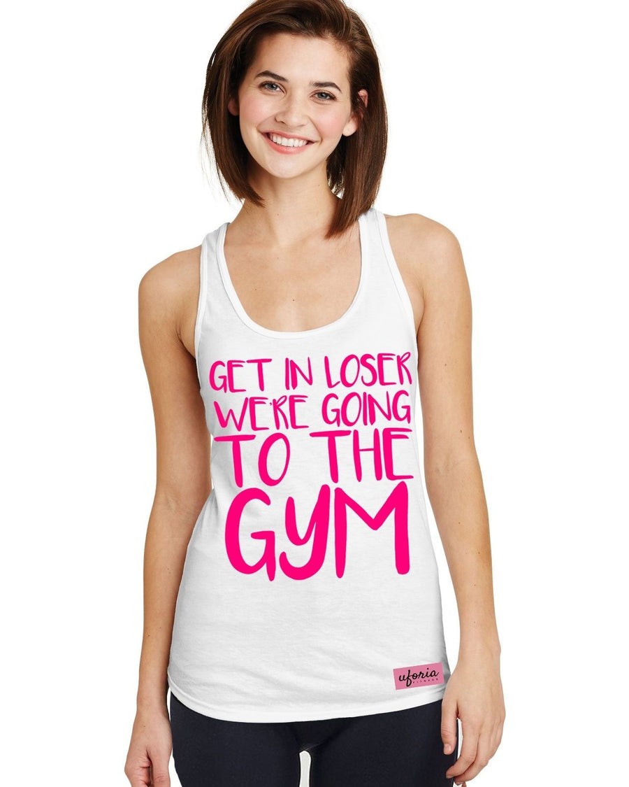 Get In Loser WHITE Womens Gym Vest Racer Back Exercise Fitness Diet Mean U36