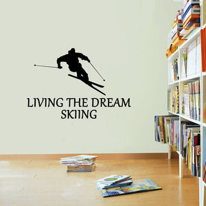 Skiing Sticker Living The Dream Ski Skier Sports Wall Vinyl Print Decal Art