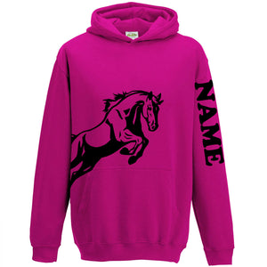 Horse Jumping Personalised Hoodie Hoody Women Girl Kid Gift Name on Sleeve L155