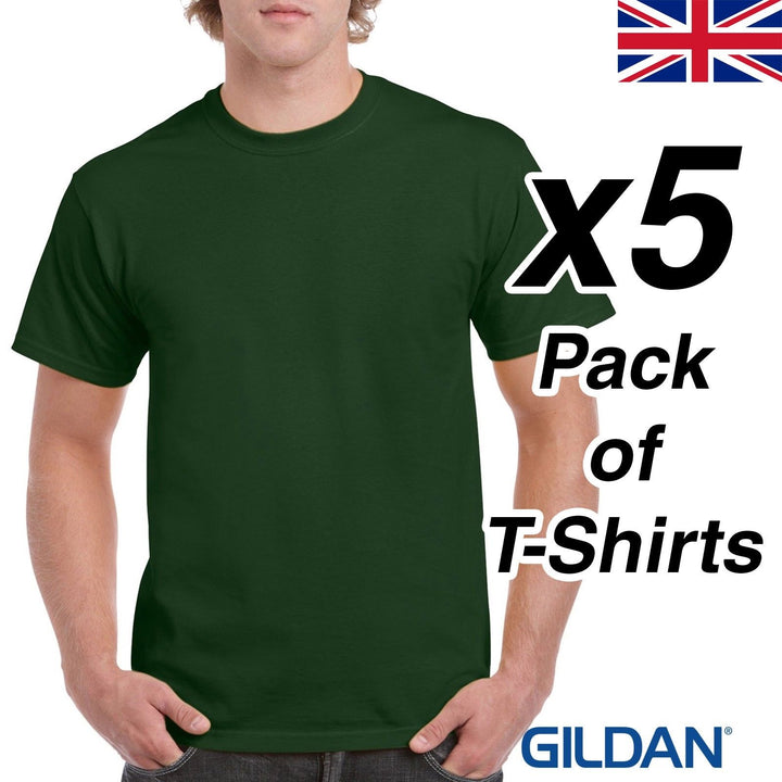 Mens Forest Green T Shirt 5 Pack Gildan Heavy Cotton Tee Plain Cheap UK Dark New