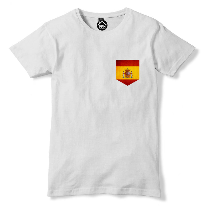 Vintage Print Pocket SPAIN Flag T Shirt Espana Football Mens Womens Tshirt 272
