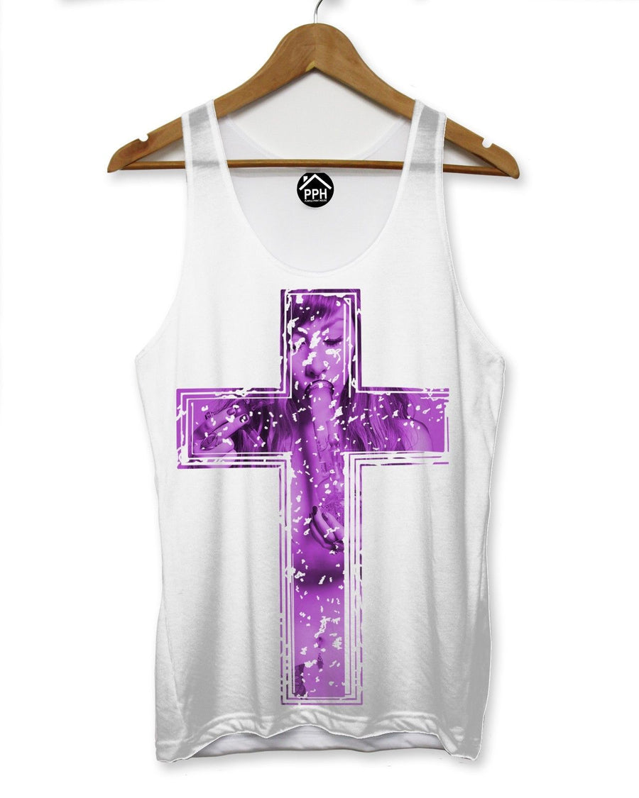 Smoking Girl Purple Crucifix Vest Sleeveless T Shirt Drugs Religion Cross 124