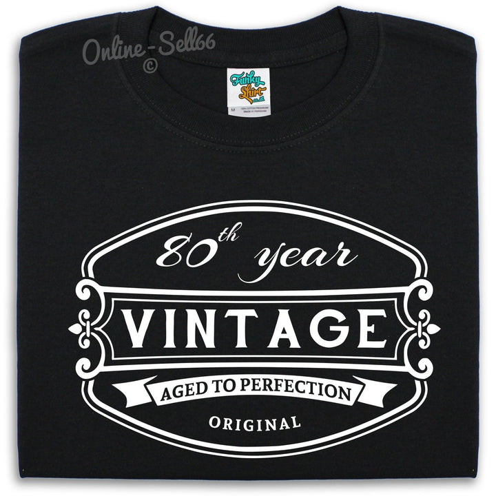 80 th Vintage Birthday Mens T Shirt 81 82 83 84 Funny Present Gift For Him Dad, Main Colour Black
