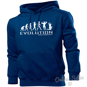 Bodybuilder Evolution Hoodie Mens Womens Kids Hoody Sports Gym Train Muscle Gift, Main Colour Navy