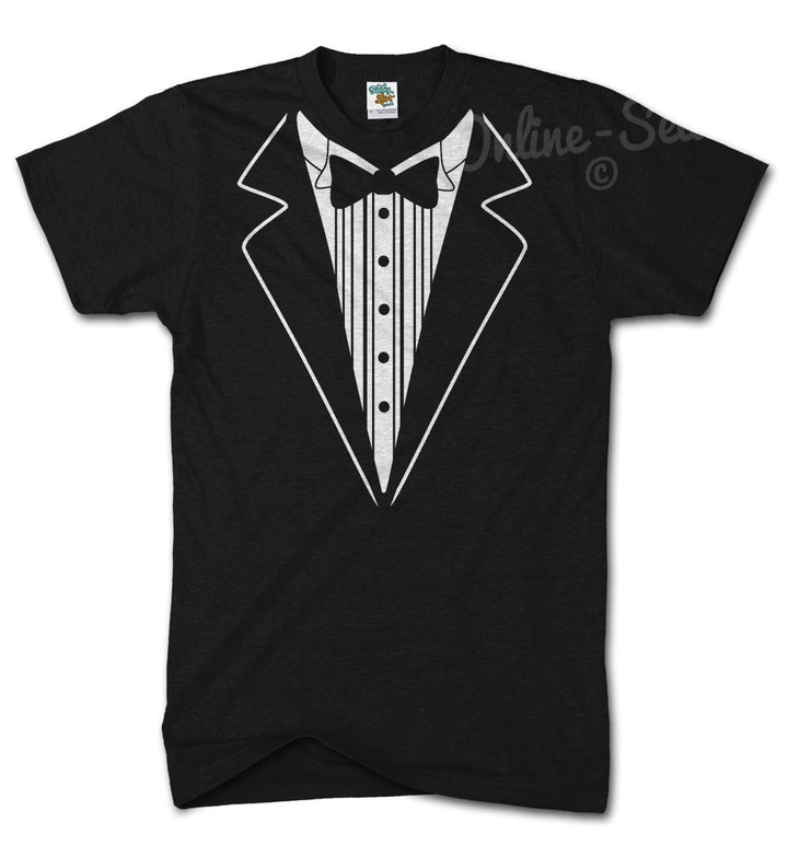 TUXEDO Funny Tshirt Fancy Dress Birthday Bow Tie Joke Novelty Suit Gift Present, Main Colour Black