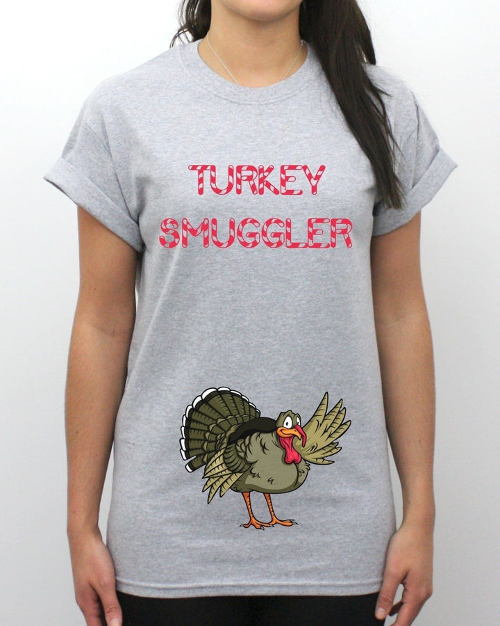 Turkey Smuggler T Shirt Pregnant Funny Joke Christmas Dinner Baby Twins Present , Main Colour Grey