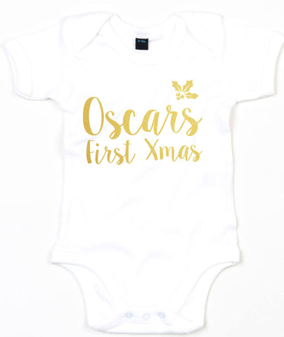 Personalised Chrismas Baby Grow First Xmas Baby Name Cute Christmas Outfit L133
