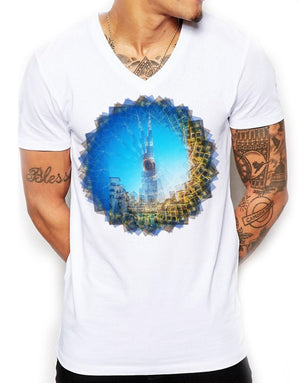Burj Khalifa Wheel Distinkt Youth V Neck T Shirt Top Mens Fitted Summer EDY9