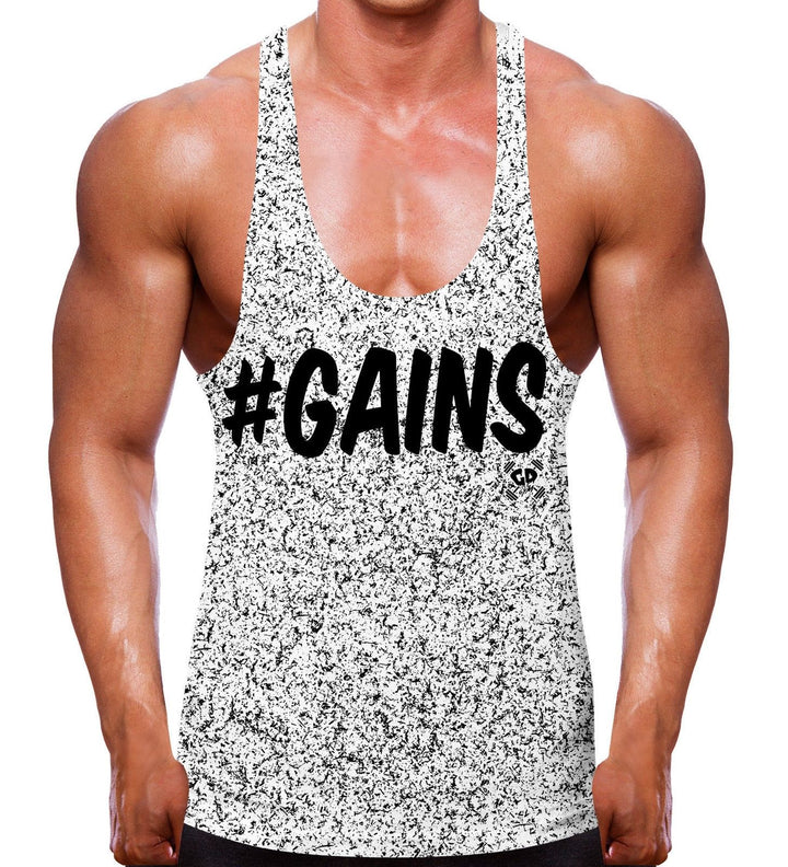 Speckled Gains Stringer Vest Hashtag #GAIN Bodybuilding Clothes Top Gym Wear Men