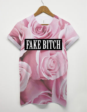 Fake Bitch Pink Roses All Over T shirt Men Floral Flower Hipster Dope Cute Girl