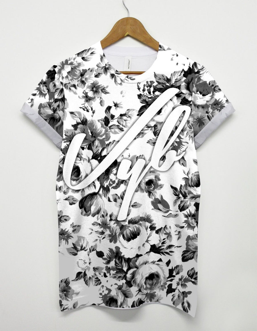 VYB B&W FLORAL ALL OVER PRINT TSHIRT DOPE SWAG VIBE TOP MEN MAN GIRL STREET