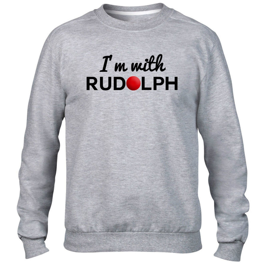 I'm With Rudolph Sweater Jumper Red Nose Reindeer Christmas Festive Present Gift