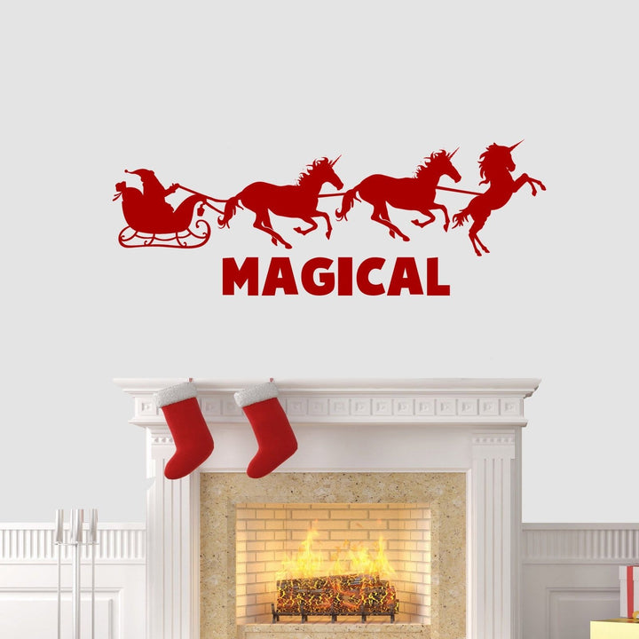 Magical Unicorn Reindeer Christmas Wall Sticker Vinyl Decorations Art Xmas W19