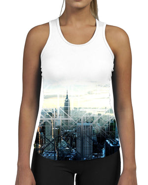 Geometric City WOMENS GYM TANK Top Vest Ladies Fitness Muscles Workout Skyline