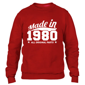 MADE IN 1980 ALL ORIGINAL PARTS SWEATER MENS WOMENS FAMILY COOL BIRTHDAY PRESENT