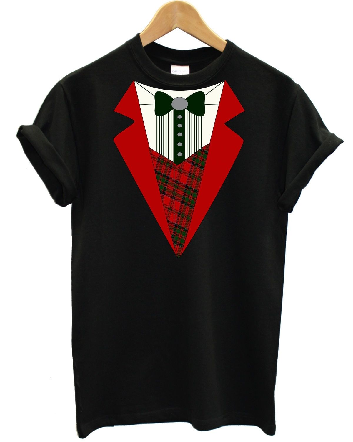 80e502ccf2 Christmas Red Tuxedo T Shirt Father Christmas Santa Gift Present Top Dress  Up, Main Colour Black