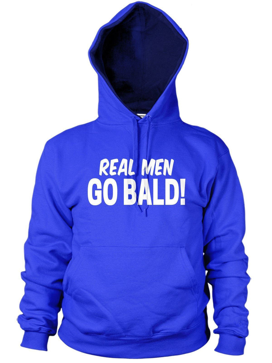 REAL MEN GO BALD HOODIE HOODY MANS PRESENT GIFT FUNNY DAD GRANDAD FATHERS DAY