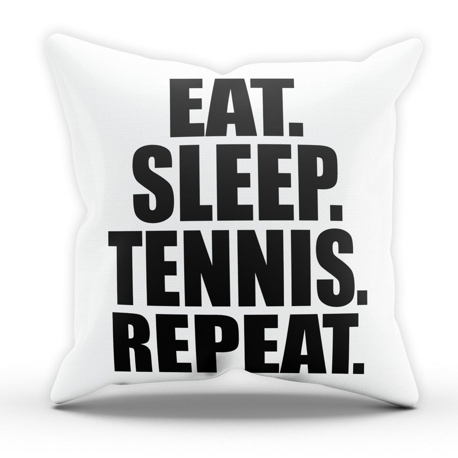 Eat Sleep Tennis Pillow Cushion Pad Cover Case Bed Racquet Ball Serve Game Set