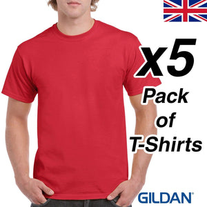 Mens Red T Shirt 5 Pack Gildan Heavy Cotton Tee Top Plain Cheap Work Man Buy UK