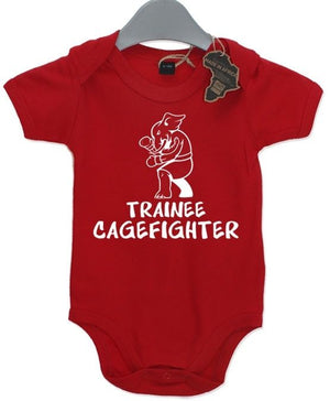 Trainee Cage Fighter Baby Grow BabyGrow Funny Birthday Present Sport Newborn kid