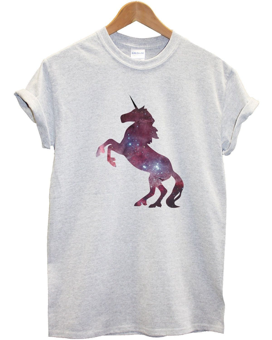 Unicorn Galaxy T Shirt Top Silhouette Men Women Girl Kid White Hipster Stars New