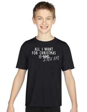 All I Want For Christmas Is A New Bike KIDS CHILDRENS T SHIRT Top Santa Present