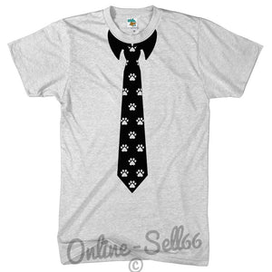 Paw Print Tie Funny Tshirt Fancy dress Gift Birthday Novelty Smart Shirt Tuxedo, Main Colour White