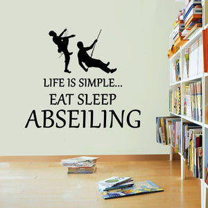 Life Is Simple Abseiling Vinyl Sticker Eat Sleep Decal Abseil Art Sports Kid