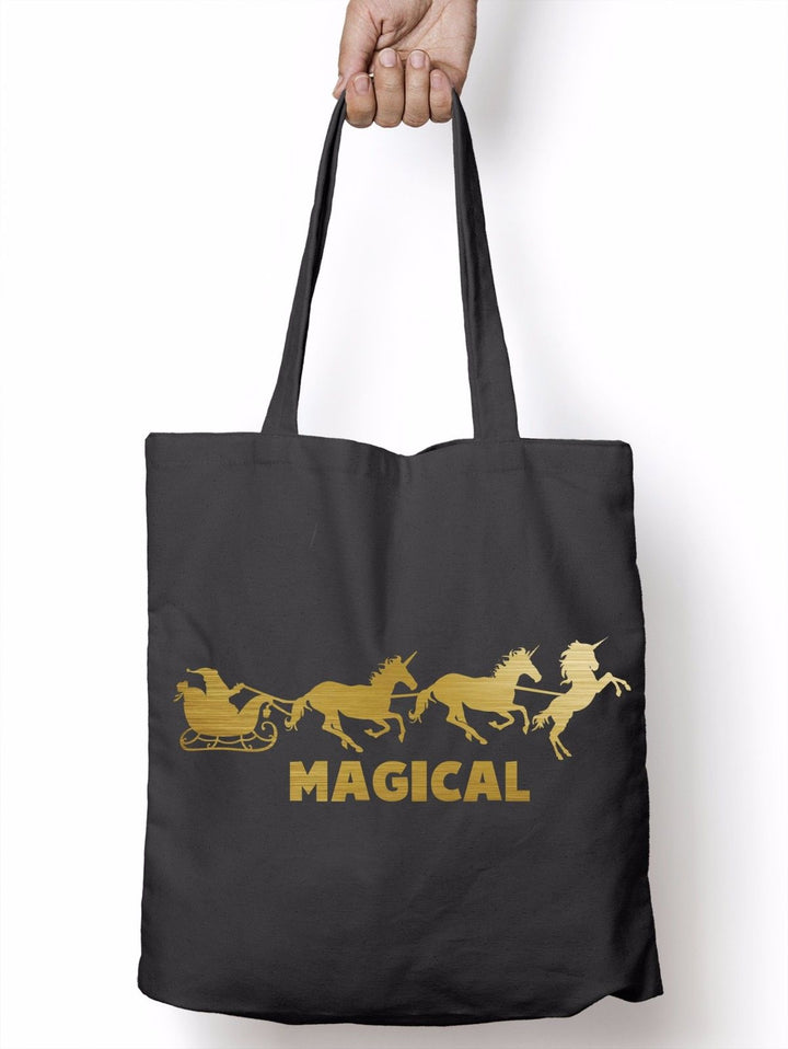 Magical Unicorn Santa Reindeer Funny Shopper Tote Bag Christmas Shopping T25