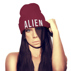 Alien Space Funny Geek Embroidery Beanie Hat Womens Invasion Girls Mens beenie