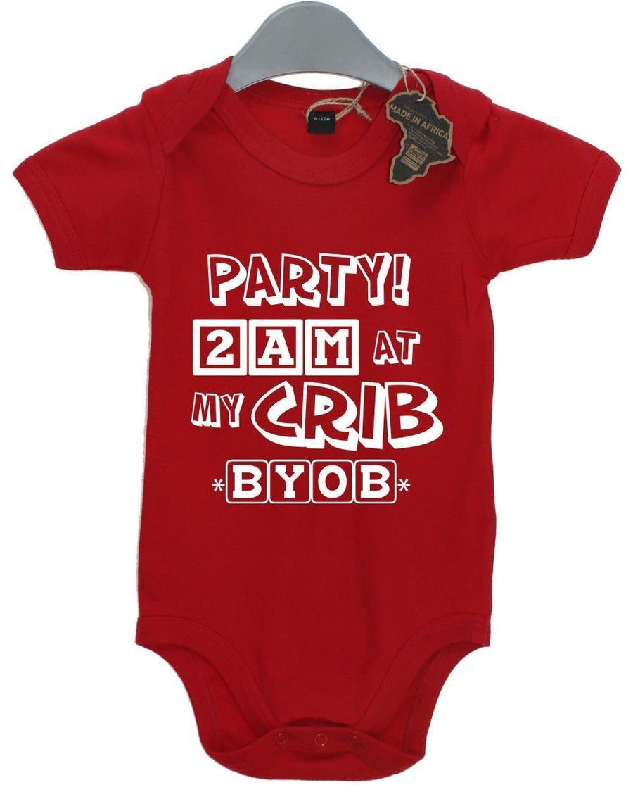 Party At My Crib Baby Grow BabyGrow Playsuit Boy Girl Newborn Birthday Present