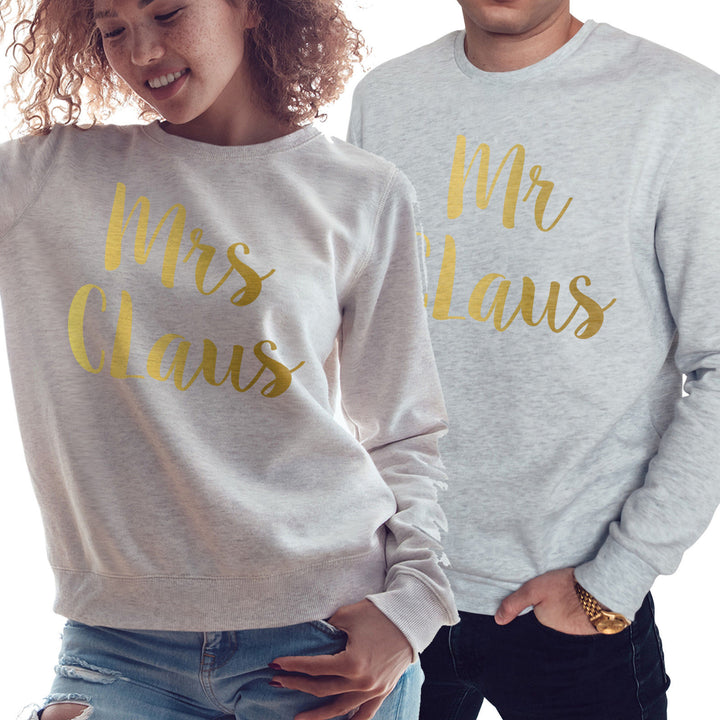 GOLD Mr & Mrs Claus Sweatshirt Couples Wedding Christmas Jumper Wifey Hubby CH54