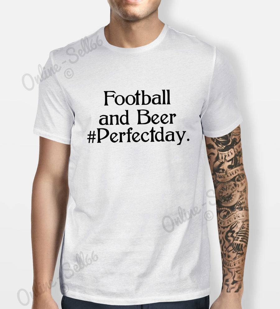 Football and Beer Tshirt Mens Womens Shirt Tee Sport Perfect day Soccer Funny