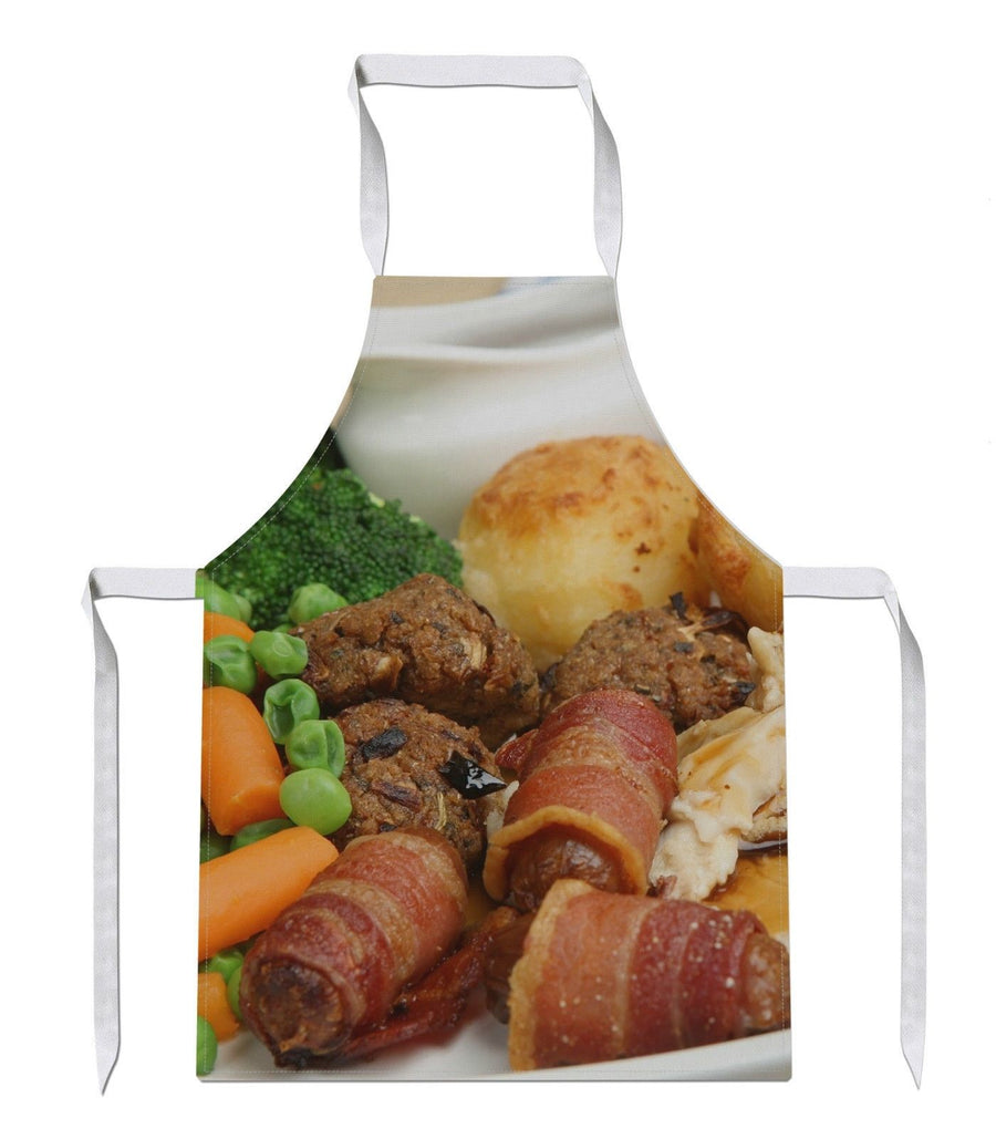 Roast Dinner All Over APRON Sunday Chef Cook Novelty Gift Potato Gravy Meat