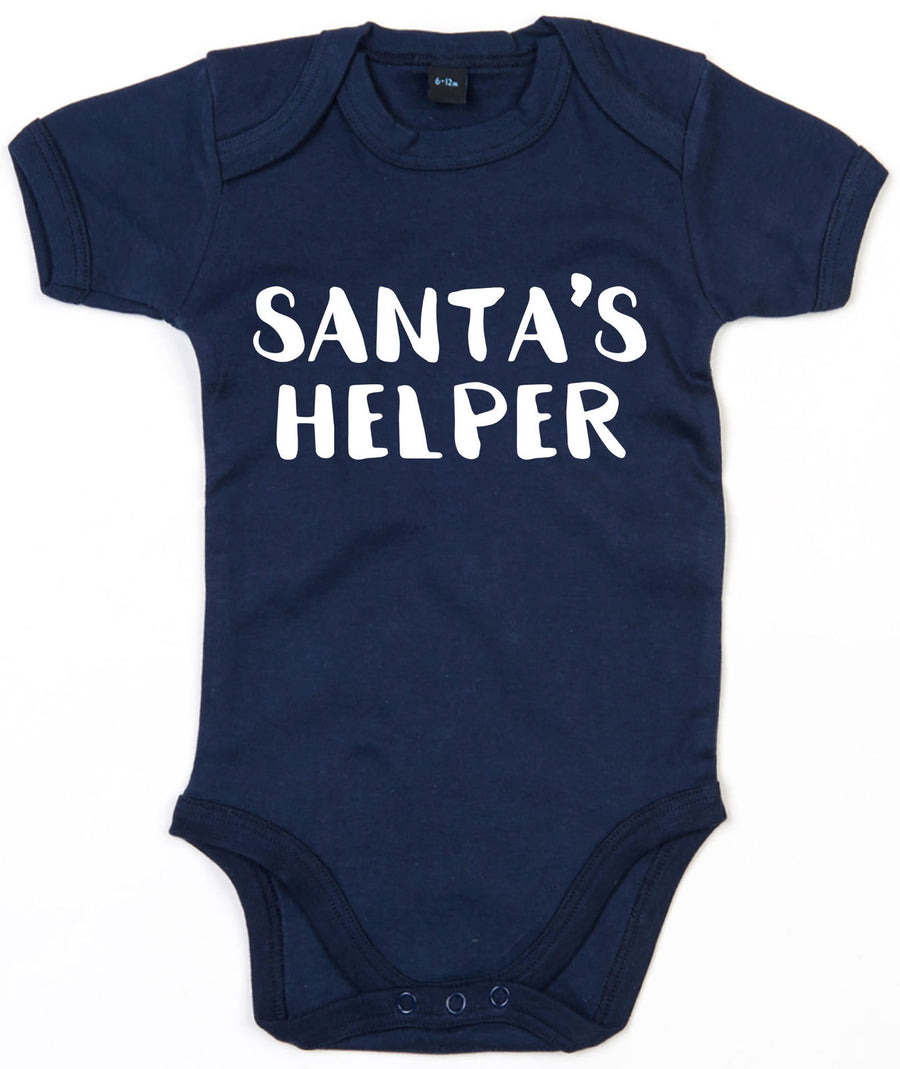 Santa's Helper Baby Grow Christmas Little Cute Elf Newborn Boys Xmas Xmas L135
