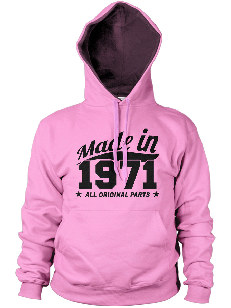 MADE IN 1971 ALL ORIGINAL PARTS HOODIE MENS WOMENS FAMILY BIRTHDAY FUN PRESENT