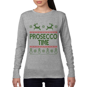 Prosecco Time Christmas Jumper Champagne Xmas Drink Drunk Party Sweatshirt CH19