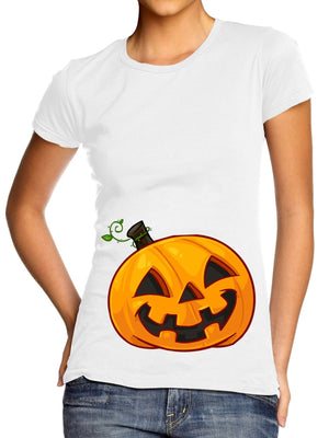 Pumpkin Bump T-Shirt Womens Pregnant at Halloween Belly Costume Maternity L105