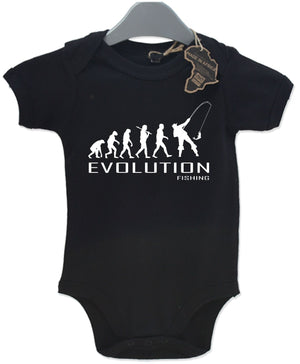 Evolution Fishing Baby Grow Unisex Babies Playsuit Fish Fisherman Baby