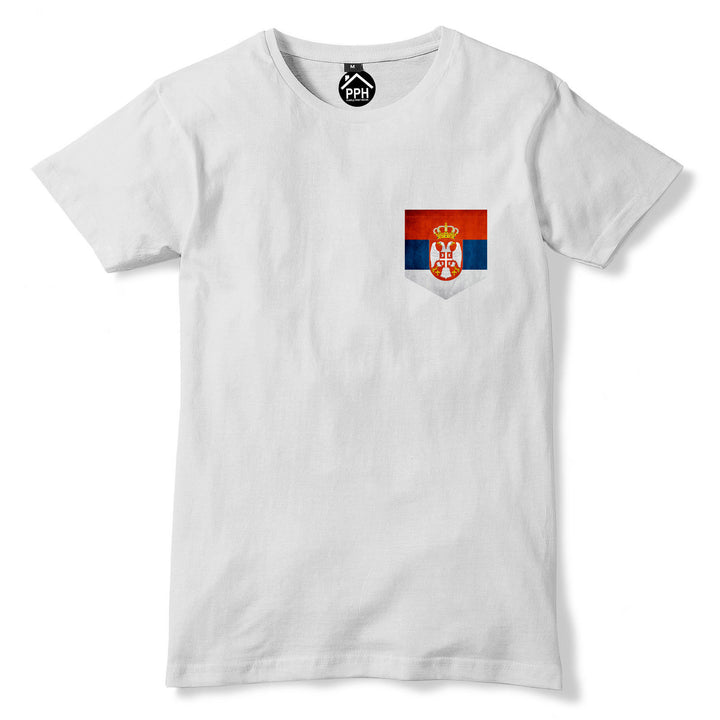 Vintage Print Pocket Serbia and Montenegro Flag Tshirt Mens Football T Shirt 288