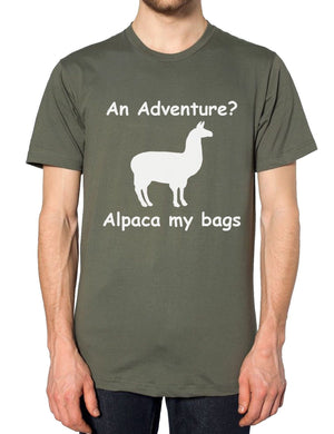 Adventure Alpaca My Bags Funny Mens Tshirt Animal Llama Womens Hipster T Shirt, Main Colour Black