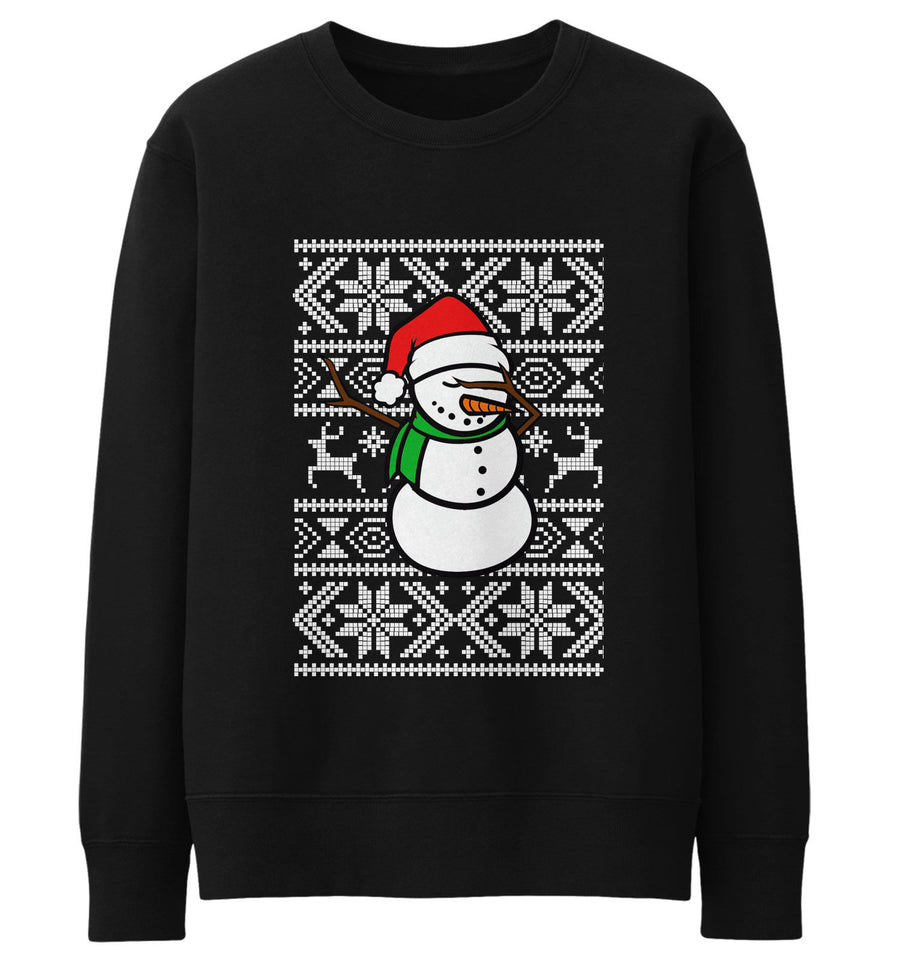 Snowman Dabbing Sweater Sweatshirt Jumper Men Dab Funny Dance Christmas Kid JC21