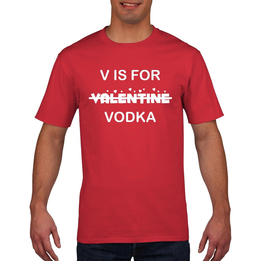 V is for Vodka Funny Valentines Day T Shirt Mens Womens Wifey Love Gift Top HV2